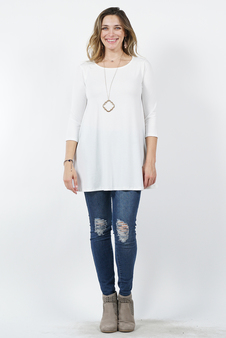 e0f9f85dde2a41 3 4 SLEEVE BOAT NECK FLARED TOP WITH SIDE POCKETS
