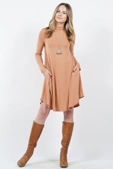 78b9e79e2ca43f Standard Mock neck Long Sleeves Two-pocket Tunic Dress